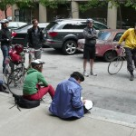 Bicyclists listen to Chris at Filbert Steps