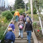 Folks walking up cement steps in a garden
