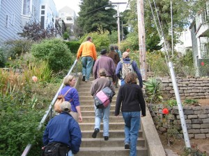Folks walking up cement steps in a garden
