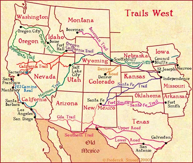 In case you want to see the trails people took (mostly on foot) to reach the west. Amazing. Image: Frederic Smoot.